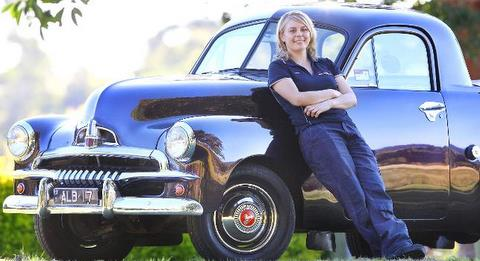FJ Holden restored by young tradie (Pic: Peter Wallis Source: The Courier-Mail)